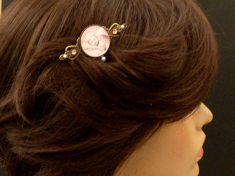 Haarkamm mit Pusteblumen Motiv rosa bronze