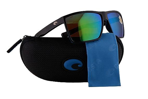 ca924b85905 Image Unavailable. Image not available for. Color  Costa Del Mar Rincon  Sunglasses Shiny Black w Polarized Plastic Green Mirror 580P Lens 63.5