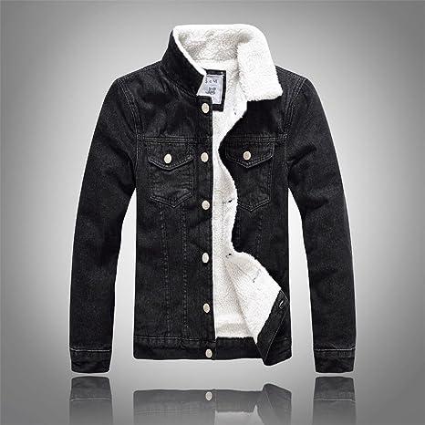 La Velvet denim jacket versión coreana del cowboy negro grueso Sau abrigos de invierno los hombres