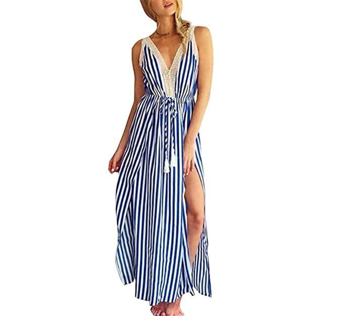 Amazon.com: Eloise Isabel Fashion moda rendas patchwork decote em v slip dress tassel cordão cintura alta evening partido longa listrada dress: Clothing