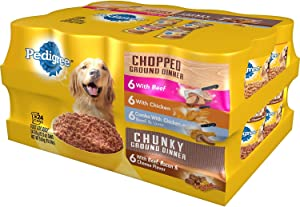 Pedigree Chopped Ground Dinner Wet Dog Food, Variety Pack (13.2 Oz., 24-Ct.)