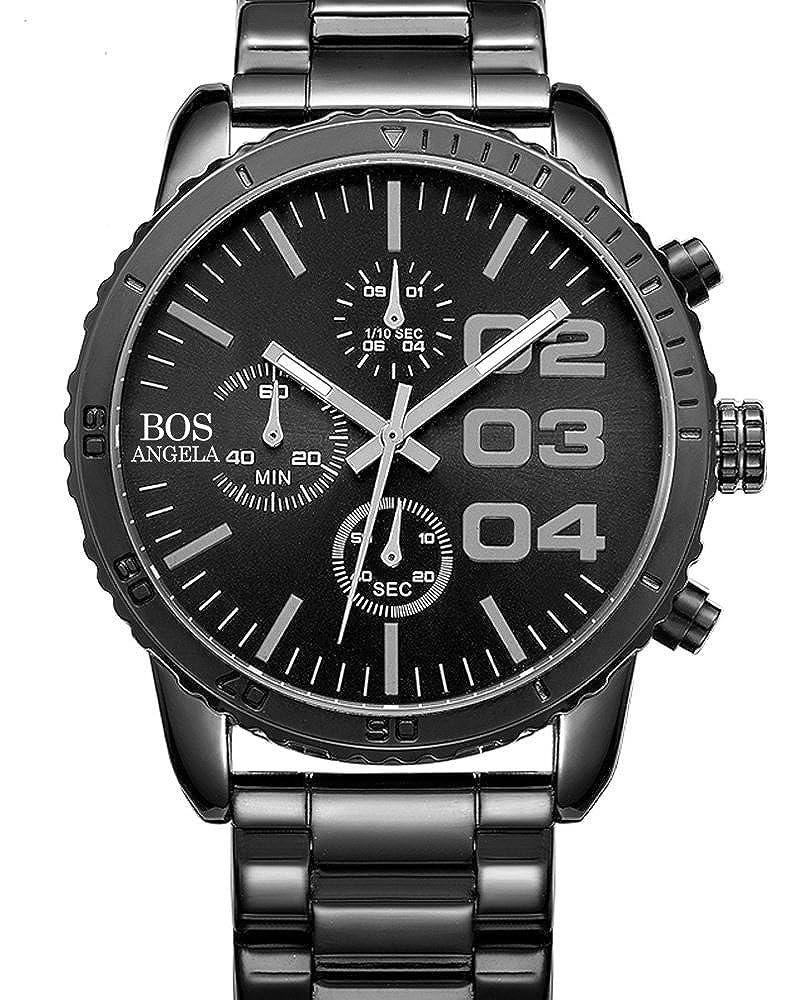 Amazon.com: BOS Mens Chronograph Analog Quartz Wrist Watch Black Dial Stainless Steel Bracklet 8013 Black: Angela Von Bos: Watches
