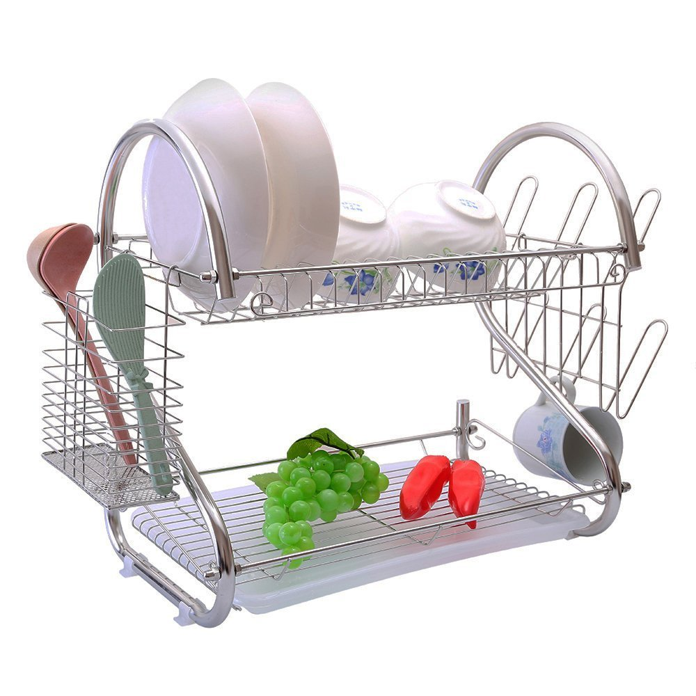 2-Tiers Rustproof Stainless Steel Metal Wire Medium Dish Drainer Drying Rack,Kitchen Plate Chopstick Cup Utensil Organizer Holder With Drip Tray (Stainless Steel, Chrome)