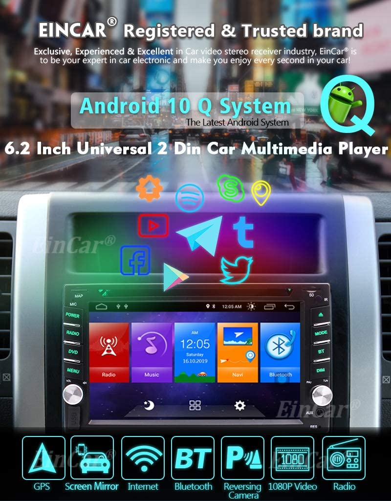 Doule 2 din Android 10.0 OS Car Stereo GPS Navigation System with Bluetooth 2G+32G Car Entertainment Radio Video Player Wifi//Mirrorlink//OBD2//USB//SD in Dash Tablet Headunit Capacitive Touchscreen