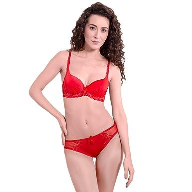 db75b45de24 pavvoin Women s Push-up red Bra Panty Set(Pack of 1)  Amazon.in ...