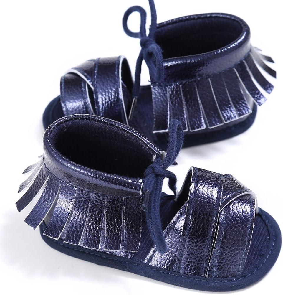 Weixinbuy Baby Boys Girls Anti Slip Soft Sole Tassel Lace Strap Sandals Shoes