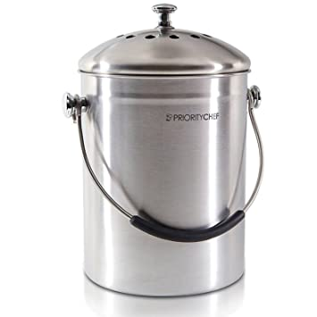 compost bin soft silicone handle stainless steel indoor compost pail for your kitchen
