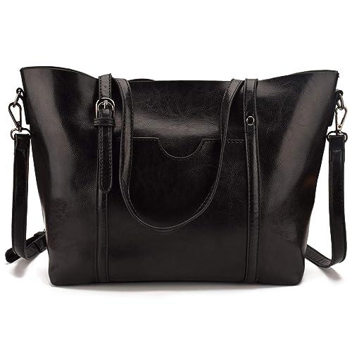JIARUO Large Capacity Belt Women PU Leather Shoulder Bags Handbags Tote Bag  (black) ea3151a4fd5d8