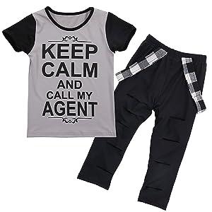 Puseky Girl Kids Fashion Style Letter T-shirt & Hole Pants Leggings Outfits Set (5T-6T, Grey+Black)