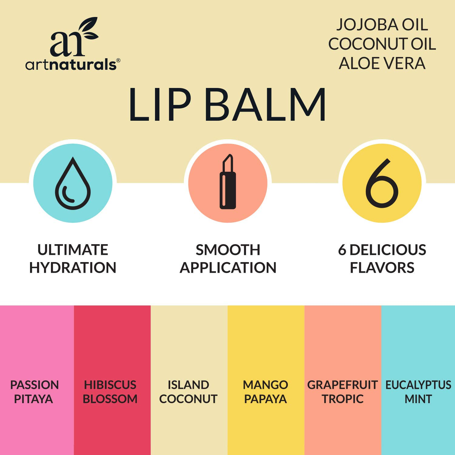 0a5971ce8c8 Amazon.com : ArtNaturals Natural Lip Balm Beeswax - (6 x .15 Oz / 4.25g) -  Gift Set of Assorted Flavors - Chapstick for Dry, Chapped & Cracked lips -  Lip ...