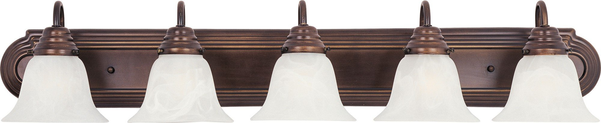 Maxim 8015MROI Essentials 5-Light Bath Vanity, Oil Rubbed Bronze Finish, Marble Glass, MB Incandescent Incandescent Bulb , 12W Max., Wet Safety Rating, 3000K Color Temp, ELV Dimmable, Opal Glass Shade Material, 840 Rated Lumens