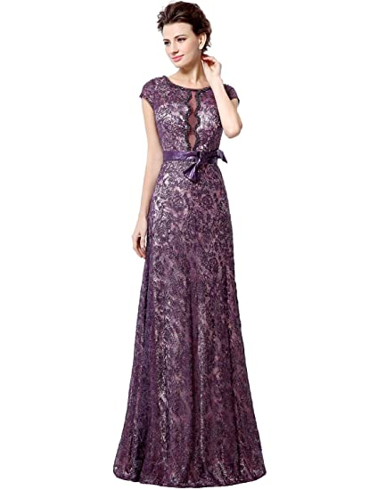 Sarahbridal Womens Long Sexy A-line Evening Prom Dresses Lace Party Gowns with Capped Sleeves
