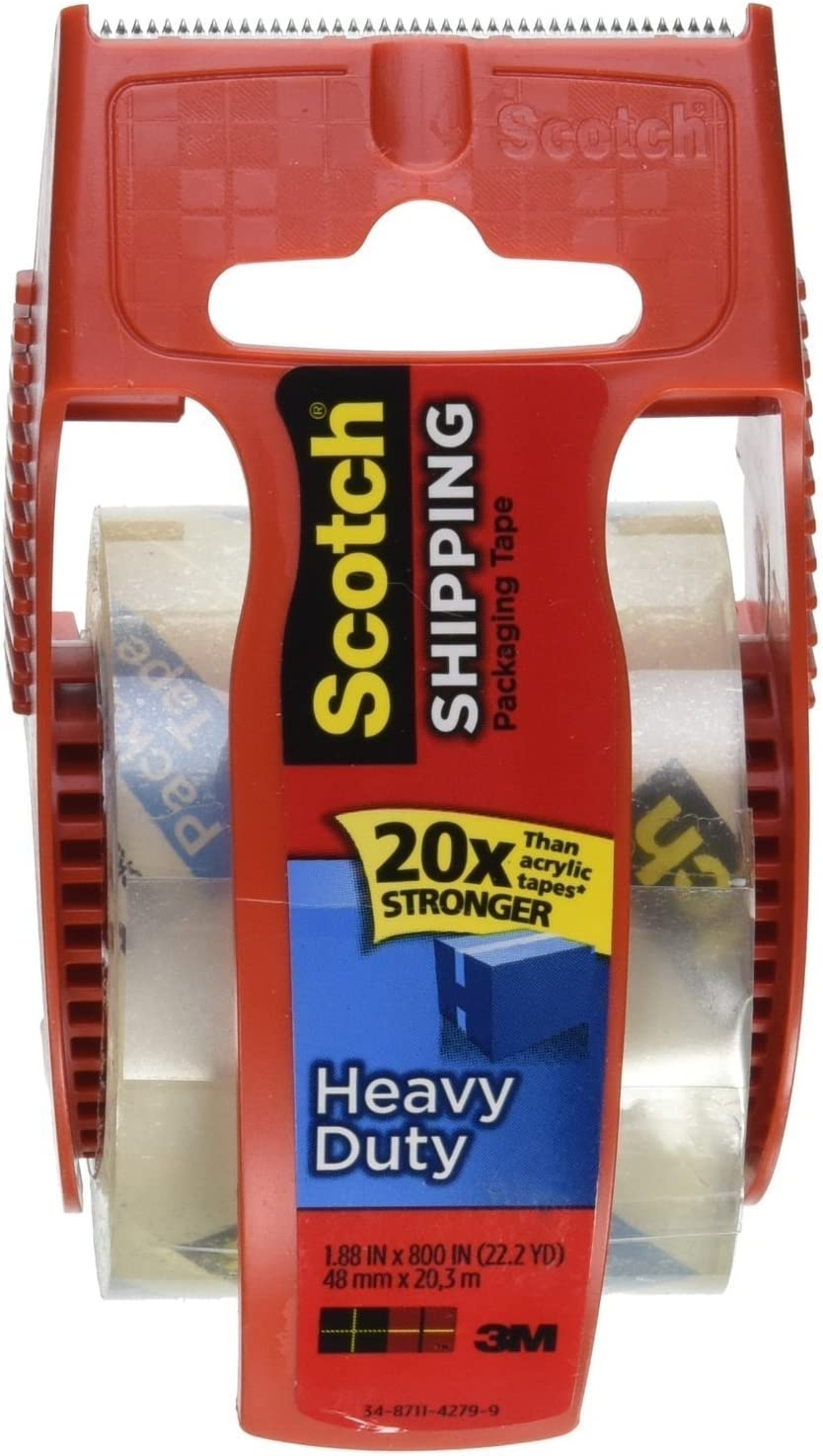 Clear 2 x 800 Scotch Heavy Duty Shipping Packaging Tape 1, Clear 3 Tapes