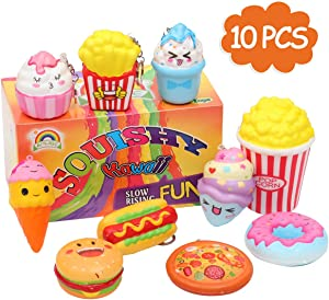 AOLIGE Slow Rising Squishies Pretend Play Food for Kids Kitchen Toys Pack of 10
