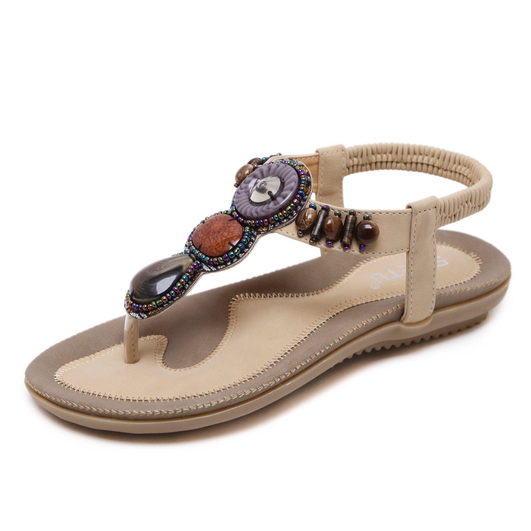 Orangetime Sandals Women Slingback T-Strap Flat Sandal Comfort Bohemian Beach Flats Ladies Ankle Strap Thong Sandals Apricot 37