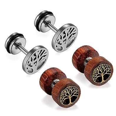 3778a3d67 Cupimatch Womens Mens Earrings, 2 Pairs Stainless Steel Wood Tree Hoop Earrings  Studs Set