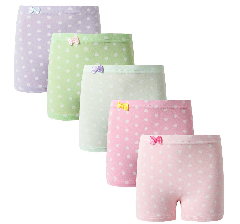 BOBO Kids Little Girls' Wave Point Boyshort Hipster Toddler Panties Cotton kids Underwear (Pack of 5) Size 5-7 Years