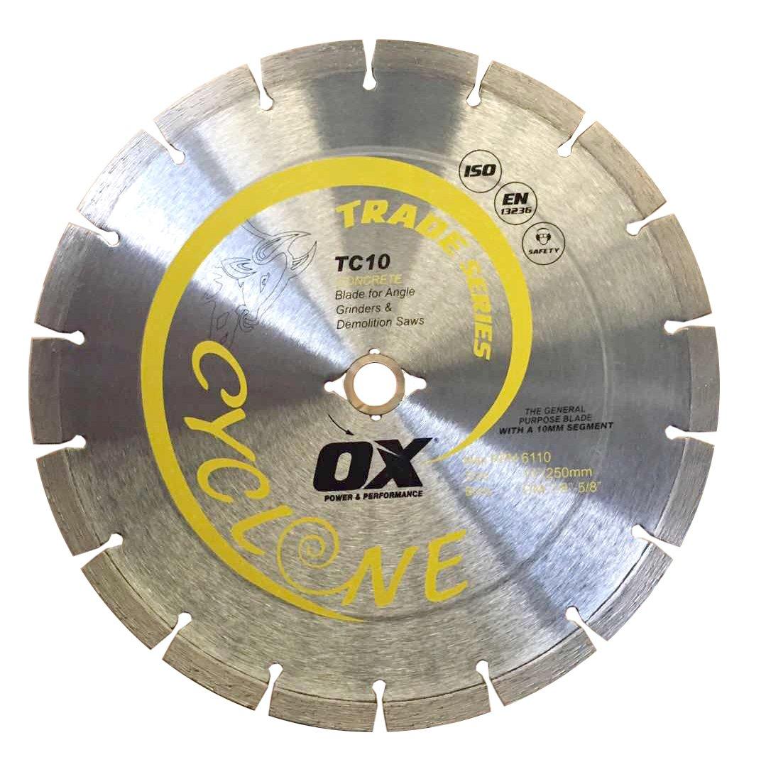 Disco de Diamante OX TOOLS OX OX-TC10-10 comercial de uso general de 10 pulg. diámetro interior DM-7/8 pulg.-5/8 pulg.