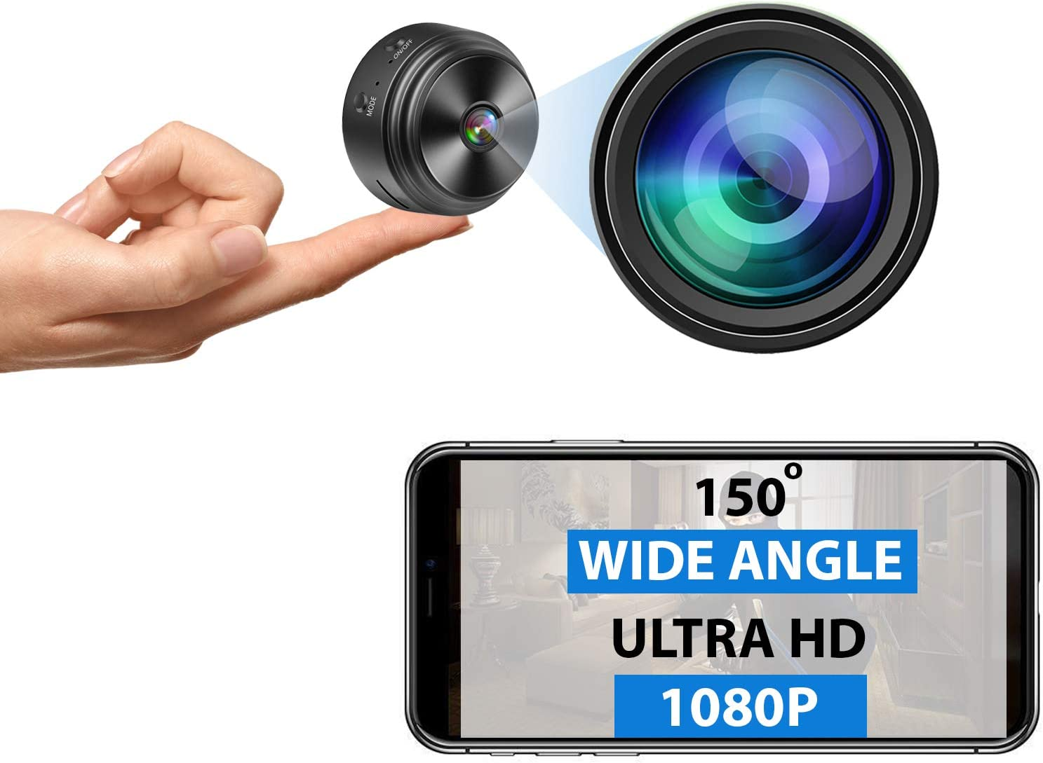 Mini Spy Camera - Wireless Hidden Camera - Ultra HD - Portable Small 1080P WiFi Nanny Cam with Night Vision and Motion Detection - Premium Indoor Covert Security Camera - Phone App - Built-in Battery