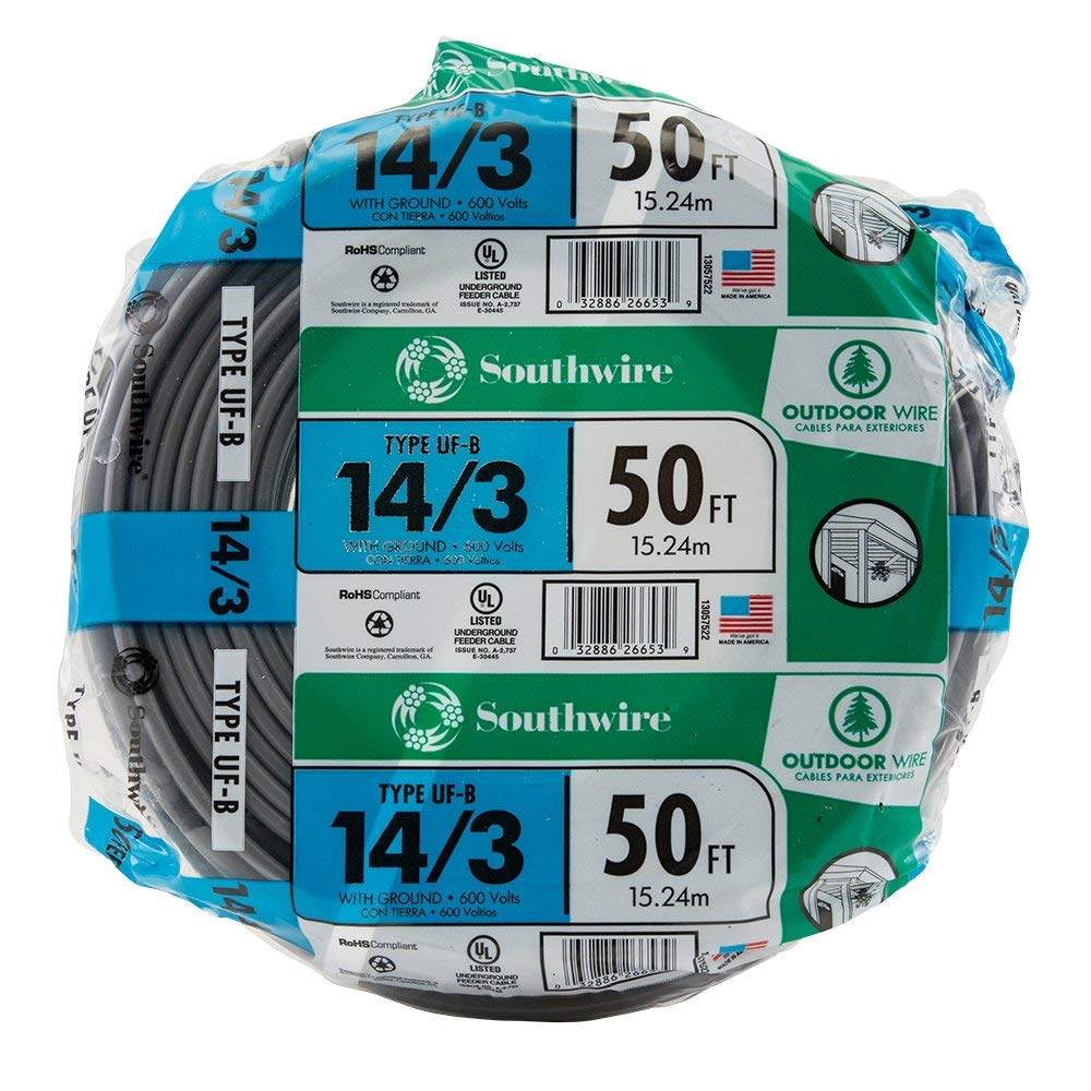 SouthWire Company 13057522 14/3WG UF Wire 50-Foot