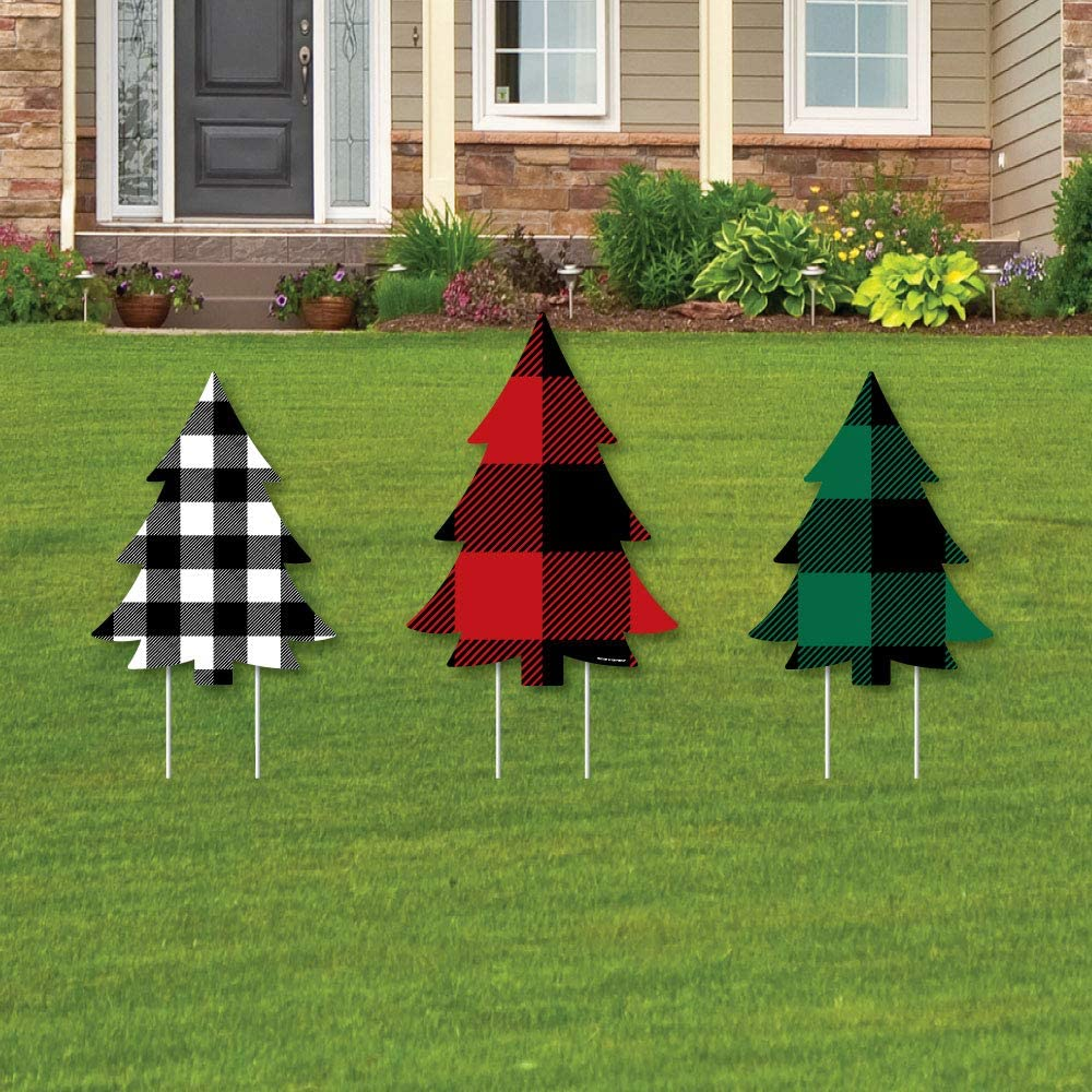 Big Dot of Happiness Holiday Plaid Trees - Outdoor Lawn Sign Decorations with Stakes - Buffalo Plaid Christmas Party Yard Display - 3 Pieces
