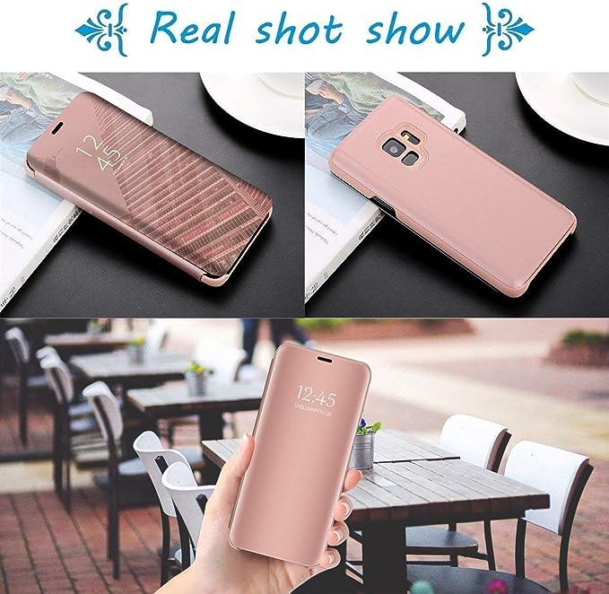 Or Homikon Miroir Coque pour iPhone XS Max Anti-Choc Technologie Housse Etui /à Rabat Flip Case Ultra Mince Translucide View Standing Support Cover Bumper pour iPhone XS Max