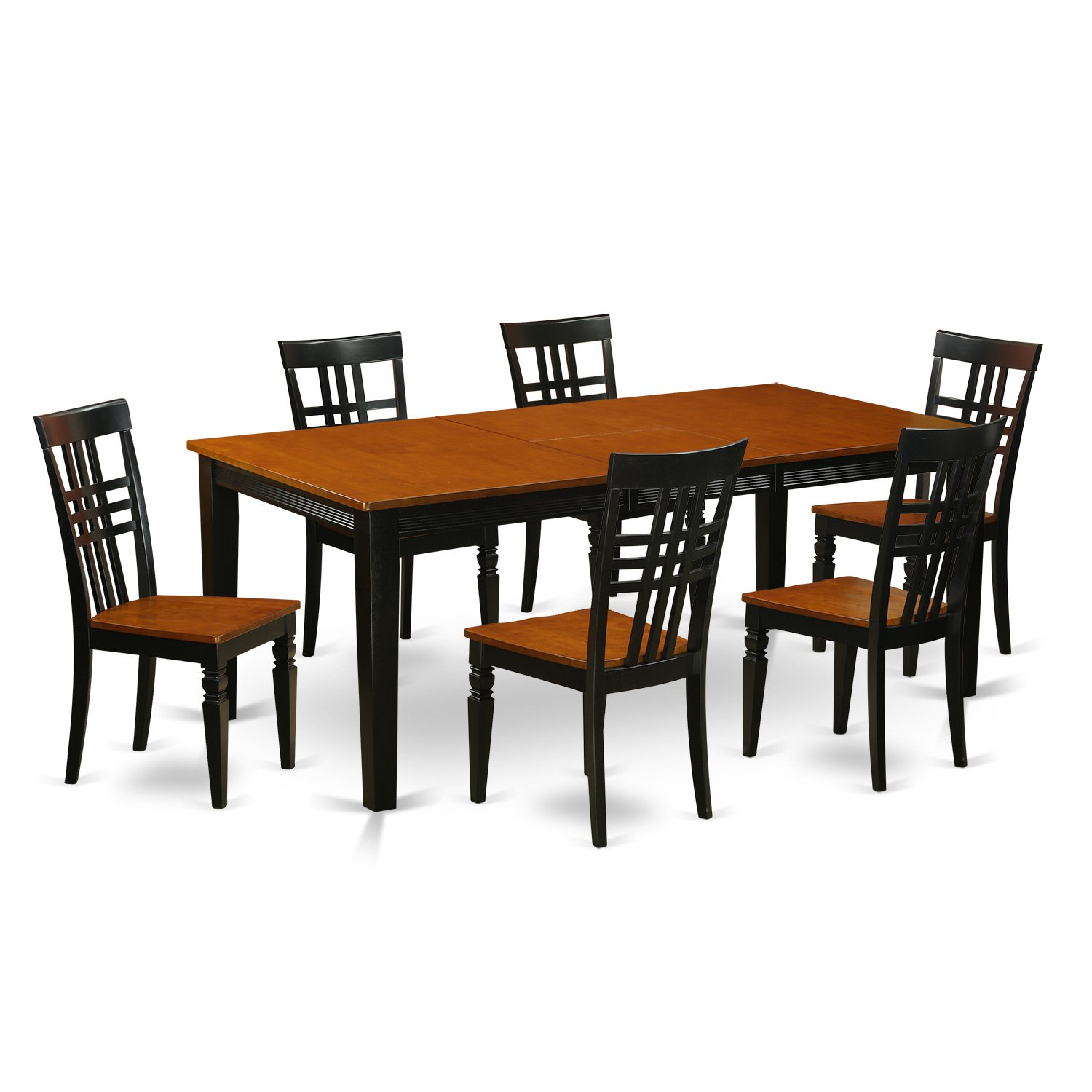 QULG7-BCH-W 7 PcKitchen Table set with a Dining Table and 6 Dining Chairs in Black and Cherry