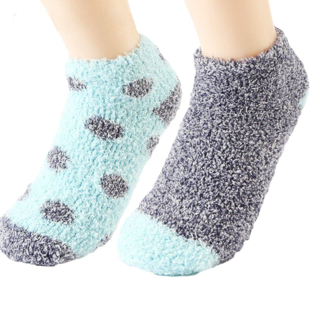 Womens Cozy Slipper Socks Sleeping Anti-Skid Soft Fuzzy Ankle Socks Warm Winter Fluffy Indoors Bed Socks
