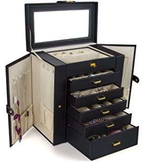 Amazon langria jewelry box with lock and mirror faux leather kendal huge leather jewelry boxcasestorage ljc shd5bk black solutioingenieria Images