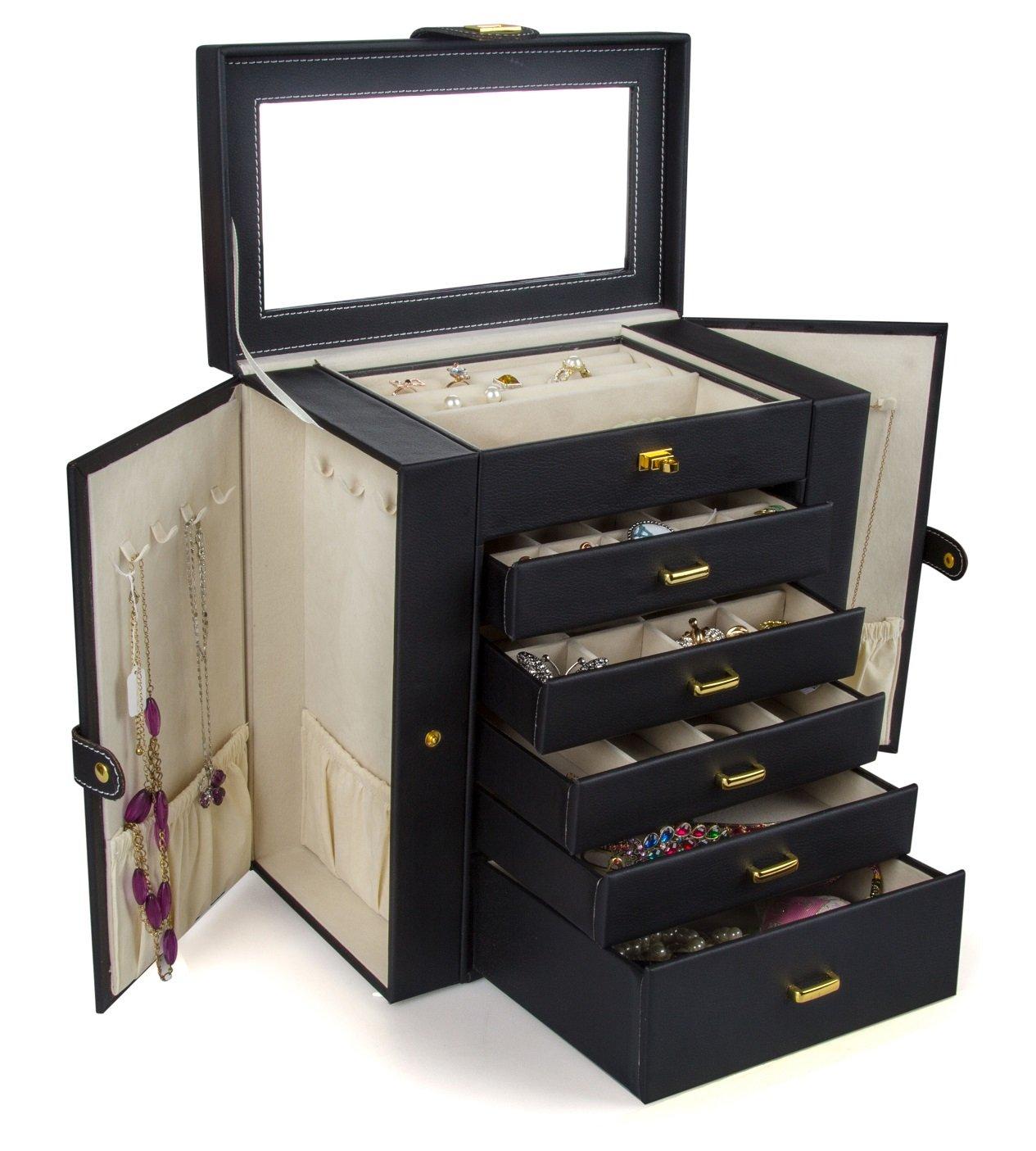 Kendal Huge Leather Jewelry Box/Case/Storage LJC-SHD5BK (Black) by Kendal