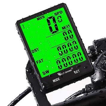 bicicleta odómetro velocímetro para bicicleta, impermeable inalámbrico LCD automático Sensor de movimiento con retroiluminación despertador