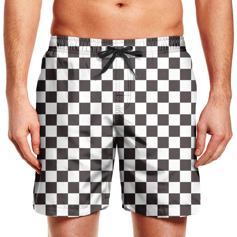 Cute Swim Trunks Sports Breathable Men QDFGDFSDX Retro-Ethnic-Squares-Checkerboard