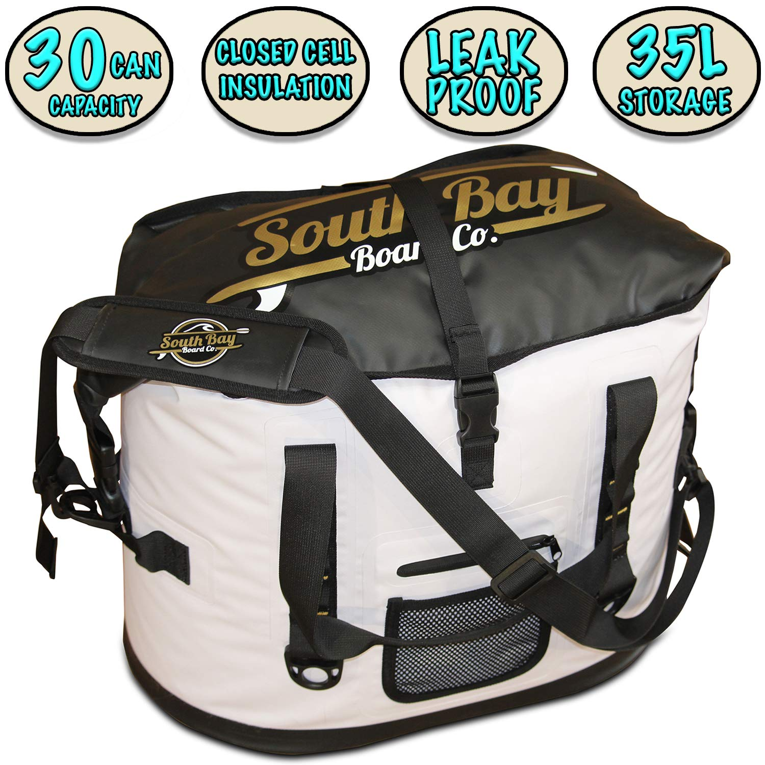SBBC – XL Insulated Beach Cooler – XL Leak Proof Soft Cooler – 30 Can Capacity – Thick Insulation, Dry Sac Large Cooler Capacity with Extra Durable Shell 35L White