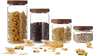 Emica Home Borosilicate Glass Kitchen Container/Canisters with Acacia Wood Air-tight Lid Set-4 Pack, Glass Food Storage Jars for Kitchen, Pantry Organization, Ideal for Coffee, Nuts, Cookie, Pasta
