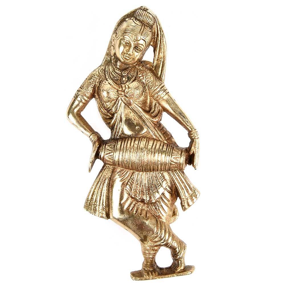 IndianShelf Handmade 1 Piece Brass Lady Drum Rust Free Door Handles/Dresser Pulls