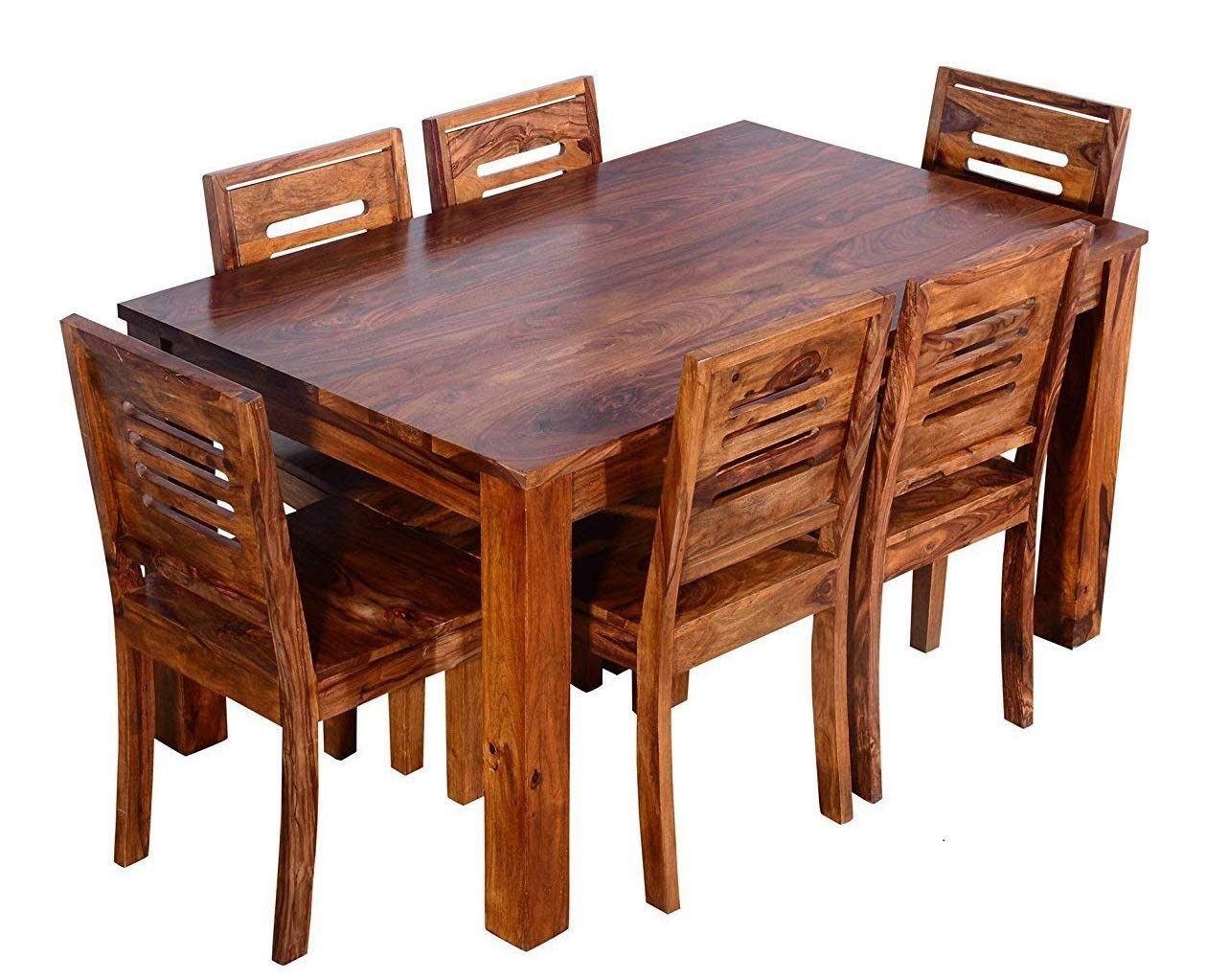 Mahimart And Handicrafts Furniture World Sheesham Wood Wooden Dining Table With 6 Chairs Home And Living Room 6 Seater 1 Teak Finish Amazon In Home Kitchen