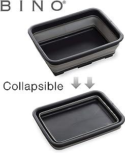 BINO Collapsible Wash Basin - Space Saving Portable Folding Dish Pan Dish Tub, Grey