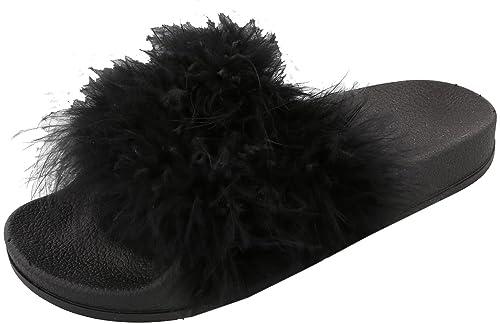 9546078ac31 Top Moda Women s Marabou Flip Flop Slip On Slide Slipper Sandal (6.5 B(M