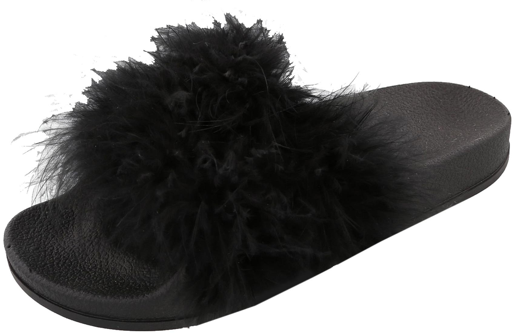Top Moda Women's Marabou Flip Flop Slip On Slide Slipper Sandal (6 B(M) US, Black)