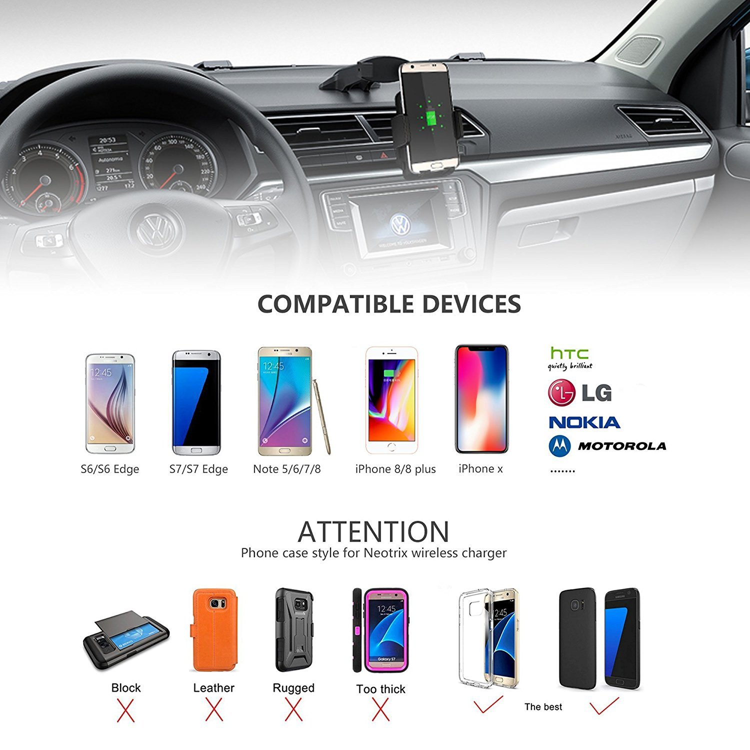 Infrared Induction Charger Wireless Car Charger,Infrared Induction Qi Fast Charger Car Mount Holder Air Vent Charger for iPhone Xs Max//XR//XS//X Samsung Galaxy S10//S9//S8//S7 Edge//Note9