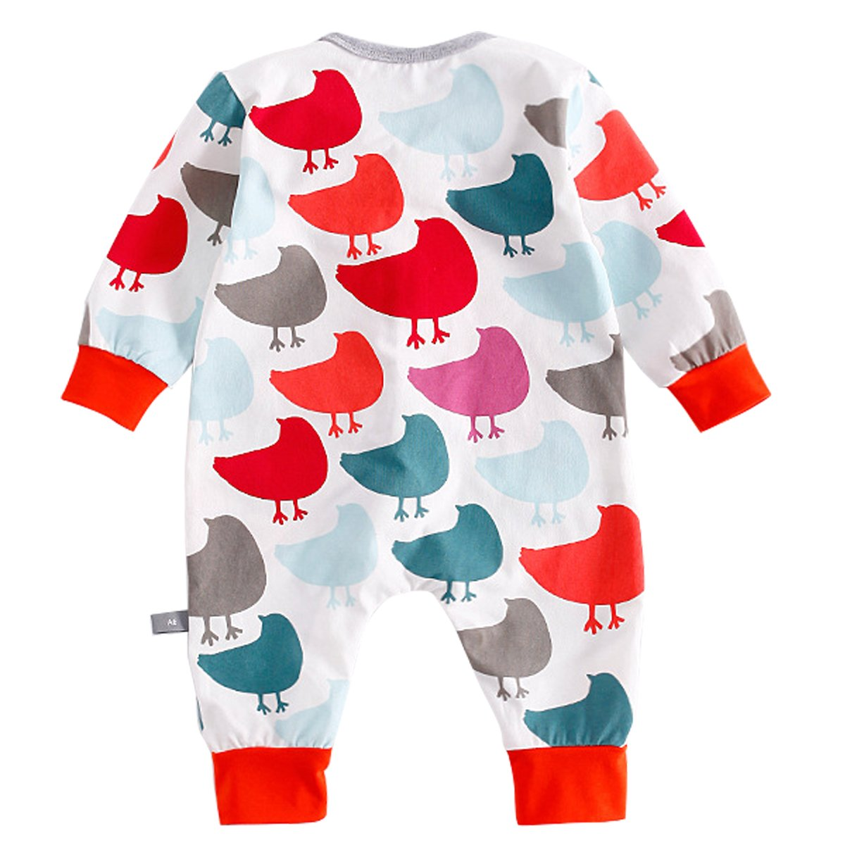 Bebone Baby Boy Girl Cartoon Print Romper Zipper Front Bodysuit