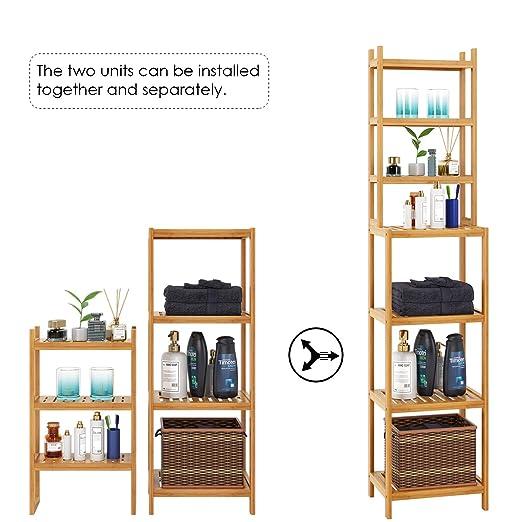 Homfa Estanterías separadas Bambú para baño con 7 niveles (4 grandes y 3 pequeños) (Bambú natural): Amazon.es: Bricolaje y herramientas