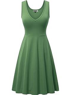 ce377ca28d5 HUHOT Womens Sleeveless V Neck Dress Pocket Summer Beach Midi Flared Tank  Dress