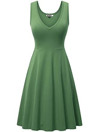 4cf8e583a187 HUHOT Womens Sleeveless V Neck Dress Pocket Summer Beach Midi Flared ...