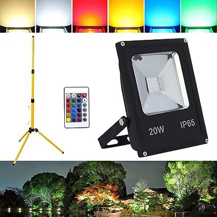 Hengda® 20W RGB Foco LED Foco proyector + Teleskop trípode del Jardín al Aire Libre