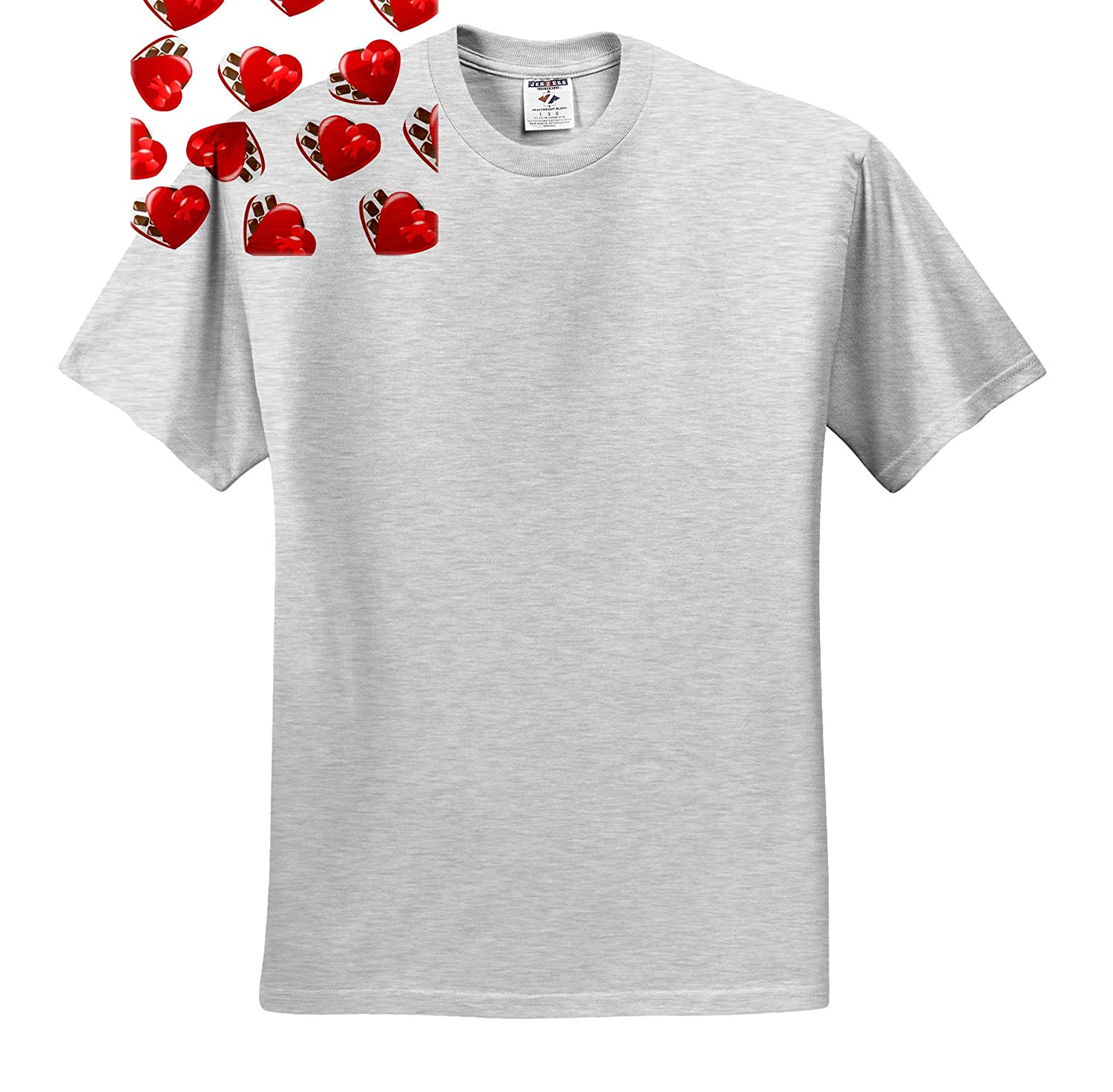 Toss Patterns 3dRose Lens Art by Florene Image of Valentine Hearts with Chocolates Repeat Pattern T-Shirts