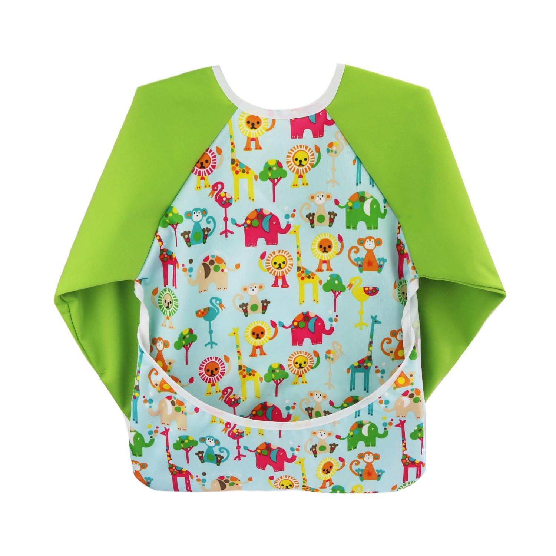 Hi Sprout Toddler Baby Waterproof Sleeved Bib, Bib with Sleeves&Pocket, 6-24 Months Multi Patterns BWS012