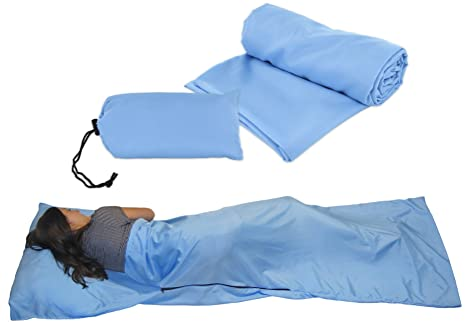 info for b5a00 27418 Sleeping Bag Liner for Travel Camping Sleepovers - Soft & Comfy Sleep Liner  Sheets - Blue