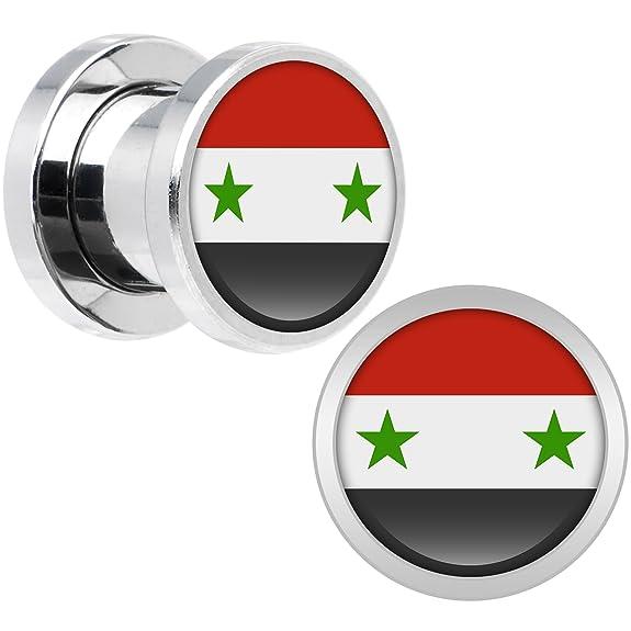 Cuerpo Caramelo Acero Inoxidable Siria Bandera Ajuste Tornillo Doble Borde Bujía Par 0 Calibre: Amazon.es: Joyería