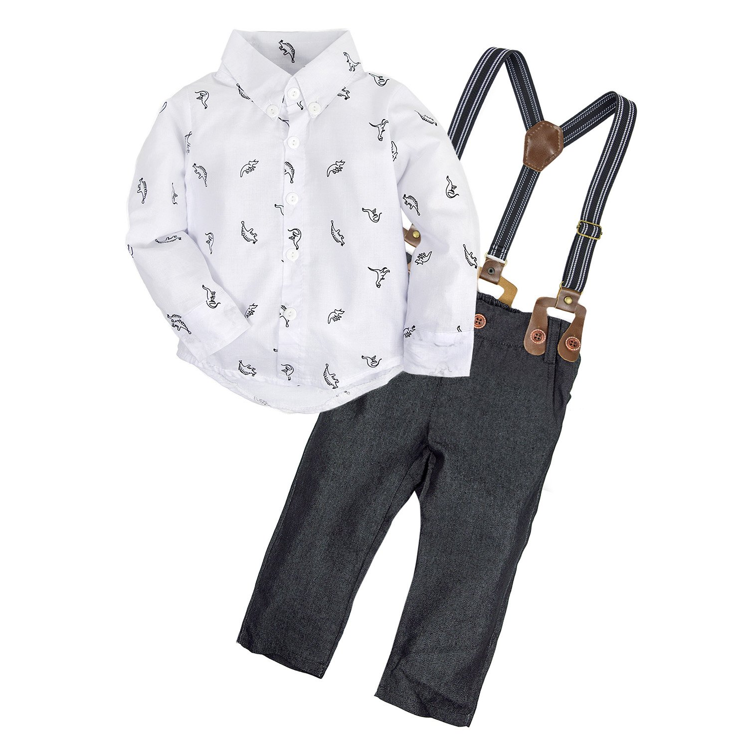 BIG ELEPHANT 2 Pieces Baby Boys Long Sleeve Shirt Overalls Set E34C